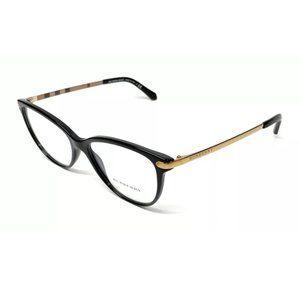 Burberry Women's Black and Gold Eyeglasses!